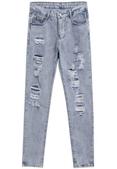 Light Blue Bleached Ripped Button Denim Pants