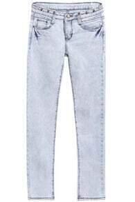 Light Blue Bleached Button Denim Pants