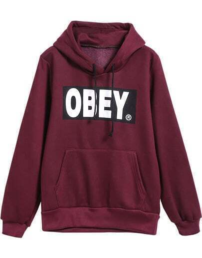 Dark Red Hooded Drawstring Long Sleeve Letters Print Sweatshirt