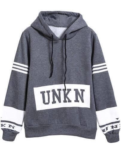 Grey Hooded Drawstring Long Sleeve Unkn Print Sweatshirt