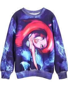 Purple Round Neck Long Sleeve Mermaid Print Sweatshirt