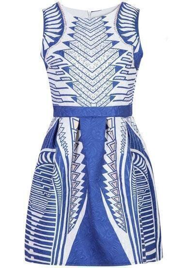 Blue And White Sleeveless Pattern Jacquard Dress