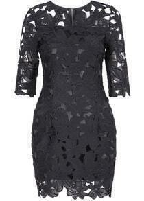 Black Hollow Long Sleeve Lace Bodycon Dress