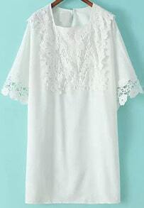 White Square Neck Lace Loose Dress