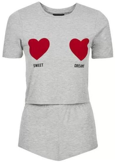 Grey Hearts Print T-Shirt With Elastic Waist Shorts