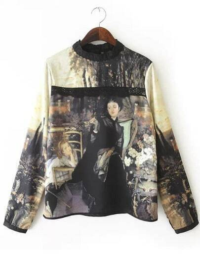 Yellow Long Sleeve Lace Painting Print Blouse