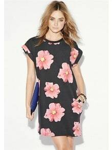 Black Short Sleeve Floral Loose Dress