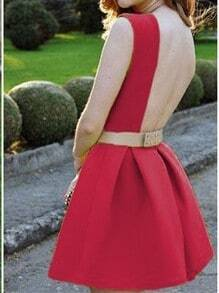 Red Sleeveless Backless Flare Dress