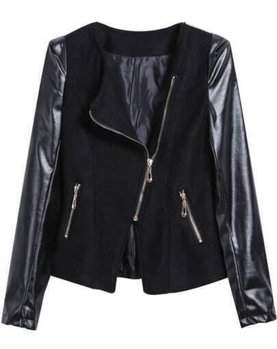 Black Contrast Pu Pockets Oblique Zipper Woolen Coat