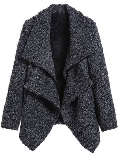 Grey Double Collar Long Sleeve Crop Woolen Coat