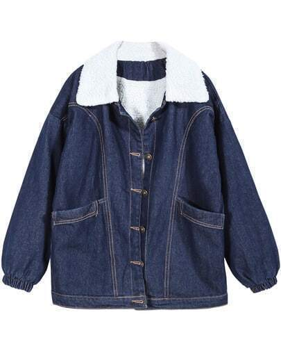 Blue Lapel Long Sleeve Buttons Denim Coat
