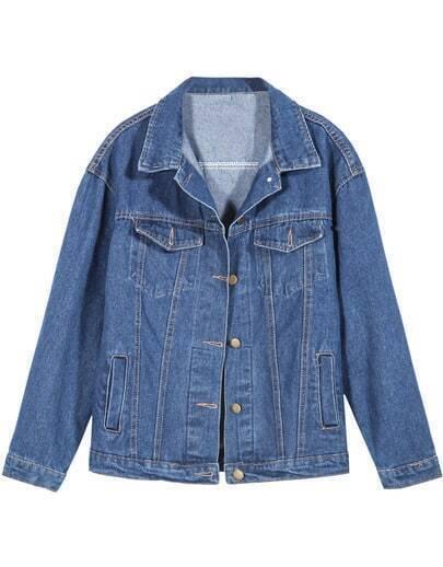 Blue Lapel Long Sleeve Pocket Loose Denim Coat