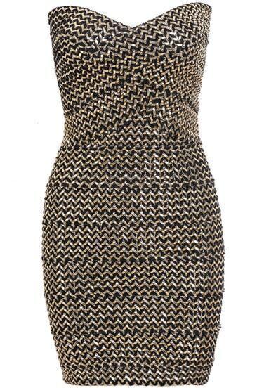 Gold Strapless Zipper Bodycon Dress