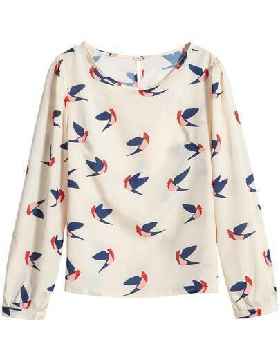 Apricot Round Neck Long Sleeve Birds Print Blouse