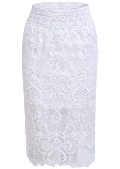 White Elastic Waist Lace Bodycon Skirt