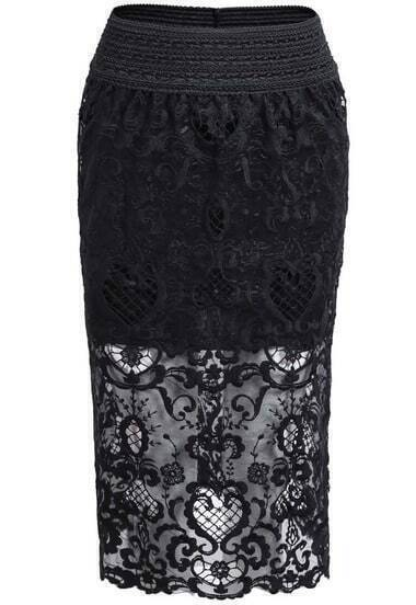 Black Elastic Waist Lace Bodycon Skirt