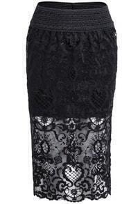 Black Elastic Waist Lace Bodycon Skirt