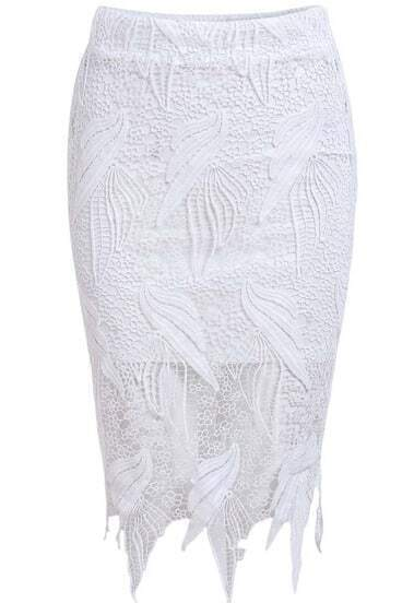 White Elastic Waist Lace Bodycon Skirt