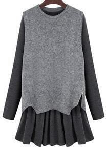 Grey Long Sleeve Flouncing Two Pieces Dress
