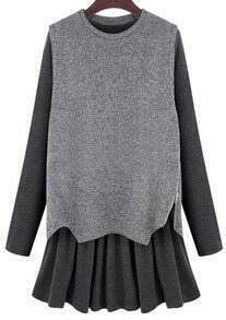 Grey Long Sleeve Flouncing Two Pieces Dress