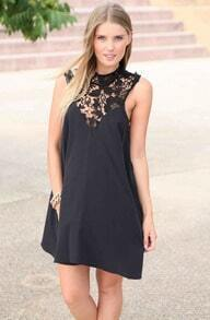 Black Sleeveless Lace Loose Dress