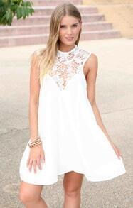 White Sleeveless Lace Loose Dress