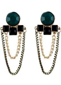 Black Green Gemstone Gold Chain Earrings