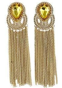 Yellow Gemstone Gold Chain Tassel Earrings