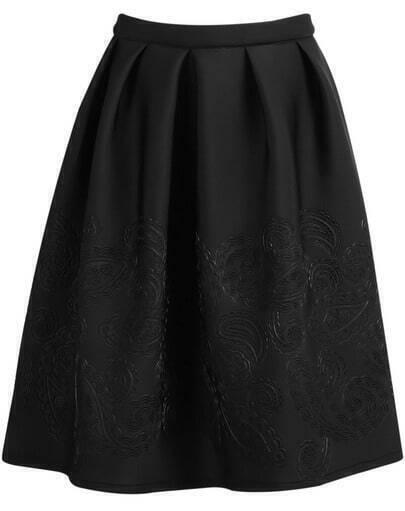 Black Zipper Floral Pleated Skirt