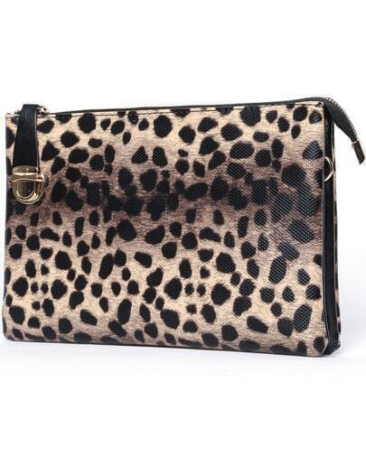 Yellow Leopard Pu Clutches Bag