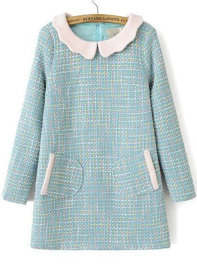 Blue Contrast Lapel Dolly Long Sleeve Pockets Dress