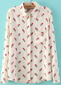 White Long Sleeve Feather Print Blouse
