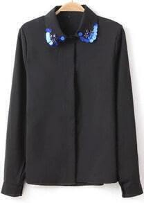 Black Lapel Long Sleeve Sequined Chiffon Blouse