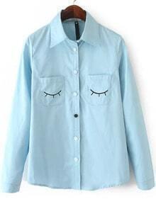 Blue Long Sleeve Eyelash Print Pockets Blouse