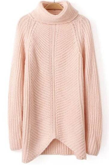 Pink High Neck Long Sleeve Knit Sweater