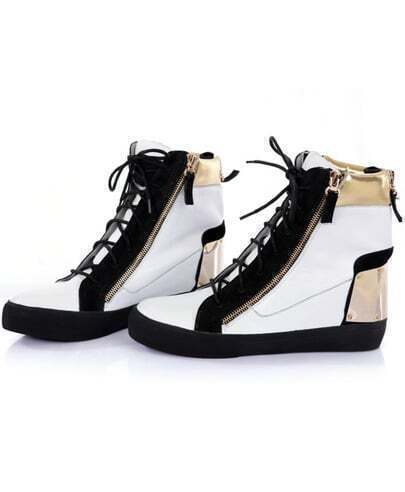 White Leather Zipper flat Shoes