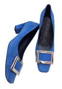 Blue Square Toe Mid Heel Shoes