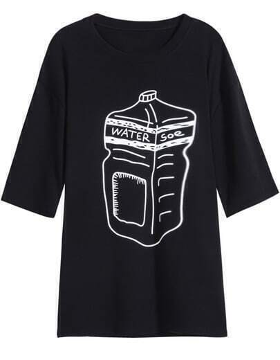 Black Short Sleeve Bottle Print T-Shirt