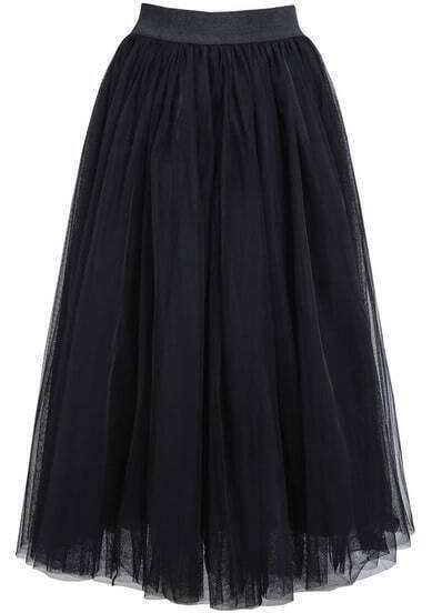 Black Elastic Waist Multilayers Mesh Skirt