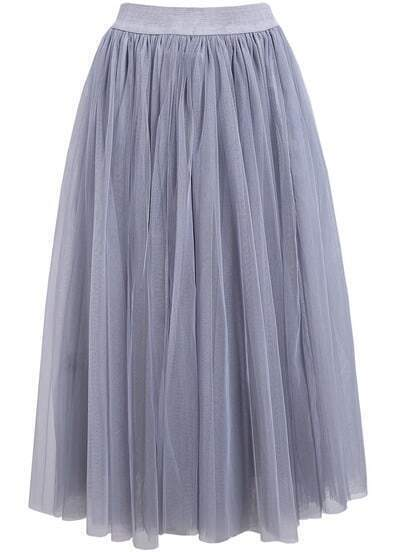 Grey Elastic Waist Multilayers Mesh Skirt
