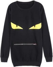 Black Long Sleeve Eyes Print Zipper Sweatshirt
