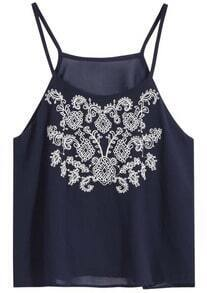 Navy Spaghetti Strap Embroidered Cami Top