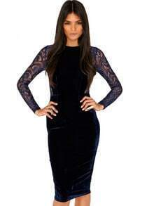 Blue Contrast Lace Long Sleeve Bodycon Dress