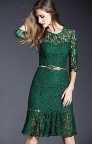 Green Round Neck Sheer Lace Flouncing Dress