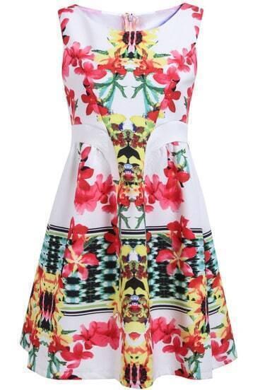 White Sleeveless Zipper Floral Pleated Dress
