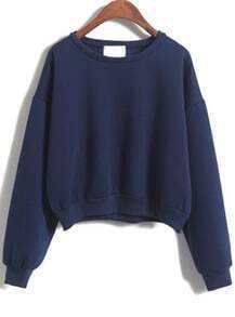 Navy Long Sleeve Crop Sweatshirt