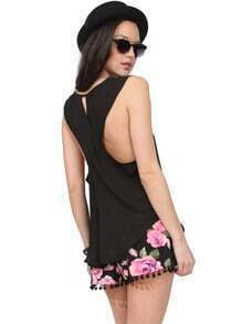 Black Sleeveless Criss Cross Back Tank Top