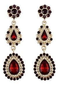 Red Drop Gemstone Gold Flower Earrings