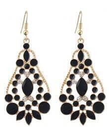 Black Gemstone Gold Hollow Drop Dangle Earrings