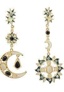 Blue Black Gemstone Gold Moon Sun Star Earrings